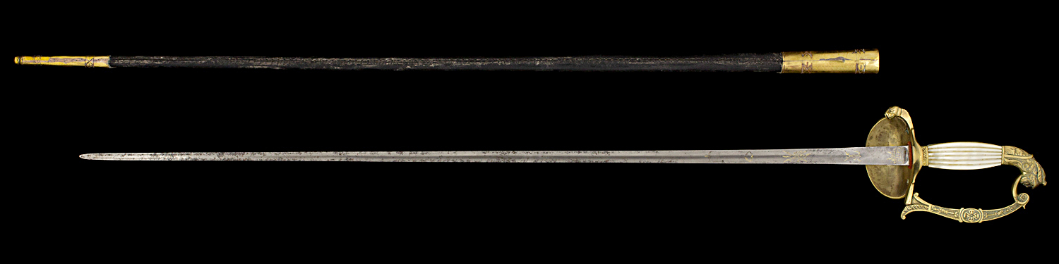 S000014_French_Louis-Philippe_Smallsword_Full_Reverse_Next_to_Scabbard