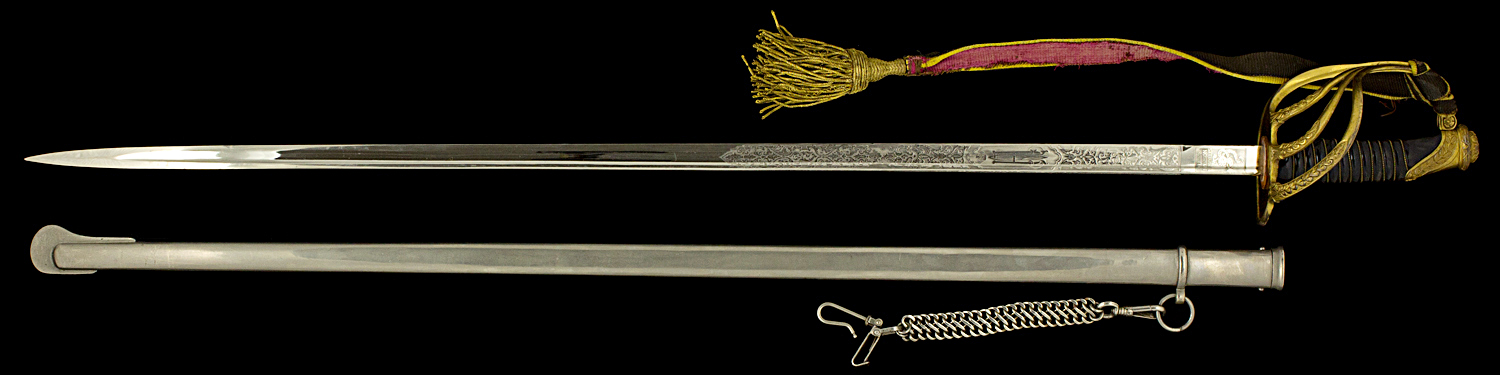 S000035_Belgian_Officer_Sword_AI_Full_Obverse_Next_to_Scabbard