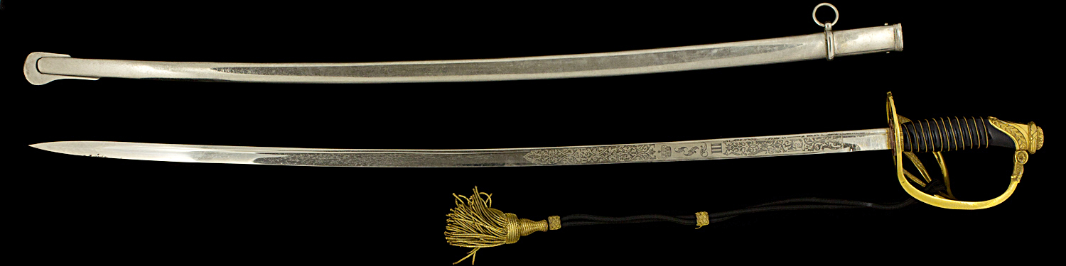 S000036_Belgian_Officer_Sword_LIII_Full_Reverse_Next_to_Scabbard