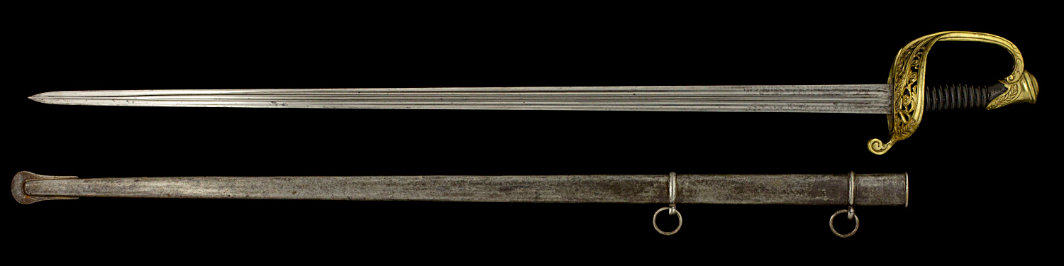 S000052_French_Model_1855_Sword_Full_Obverse_Next_to_Scabbard
