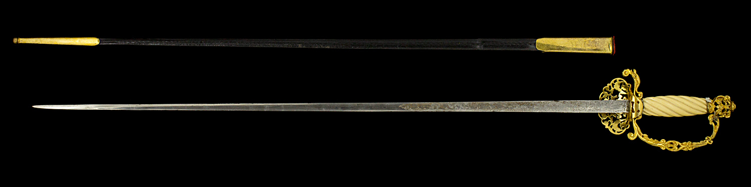 S000053_Belgian_Ambassador_Smallsword_Full_Reverse_Next_to_Scabbard