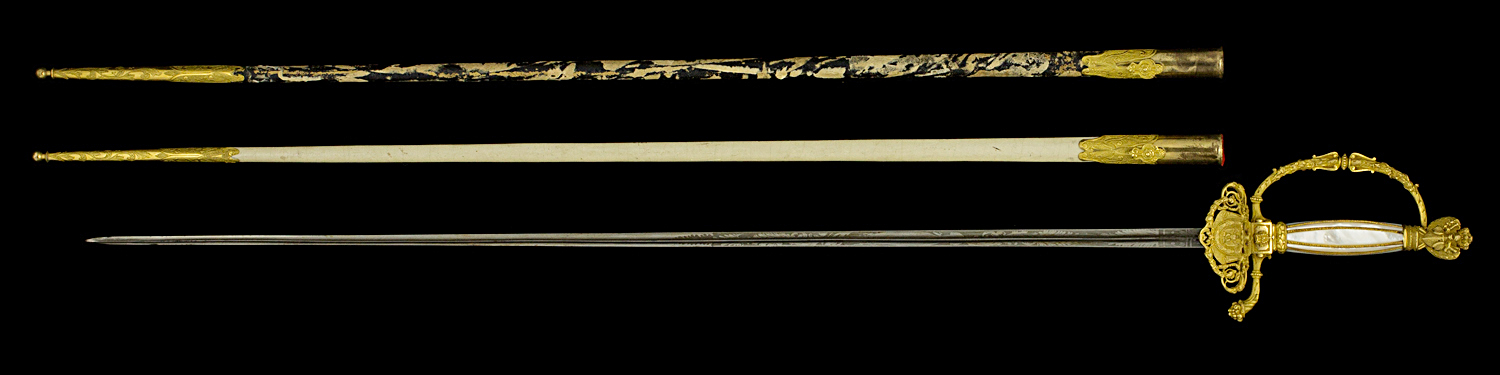 S000057_French_Ambassador_Smallsword_Full_Obverse_Next_to_Scabbard