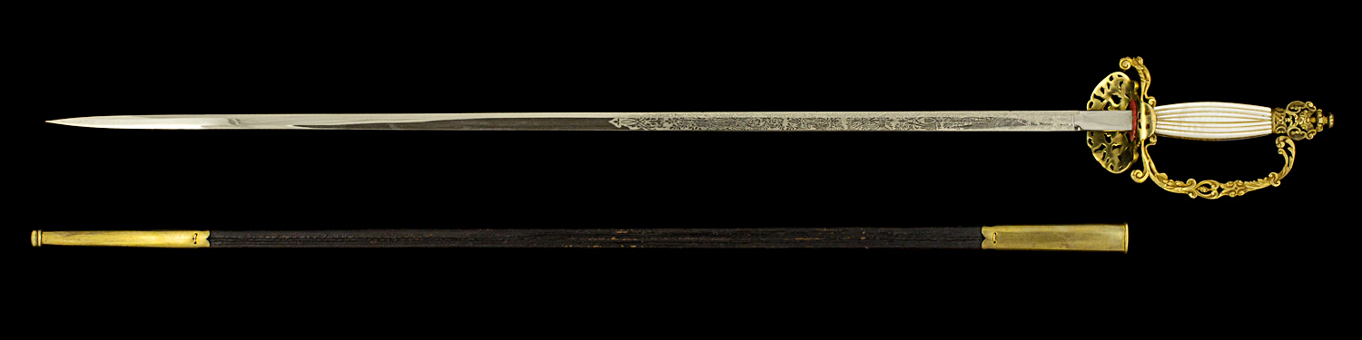 S000061_Belgian_Civil_Servant_Smallsword_Full_Reverse_Next_to_Scabbard