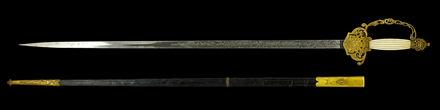 S000078_Belgian_Court_Sword_Full_Obverse_Next_to_Scabbard