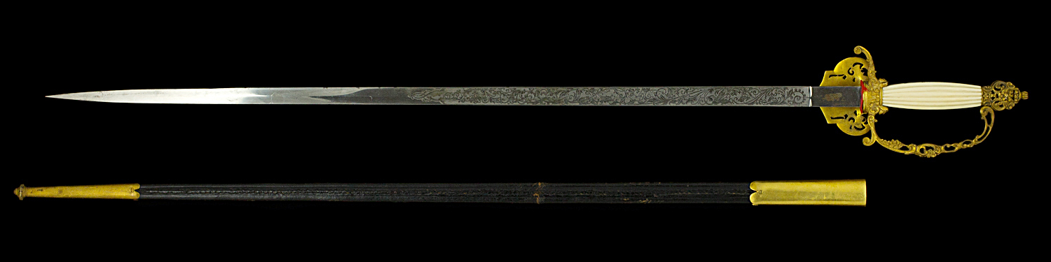 S000078_Belgian_Court_Sword_Full_Reverse_Next_to_Scabbard