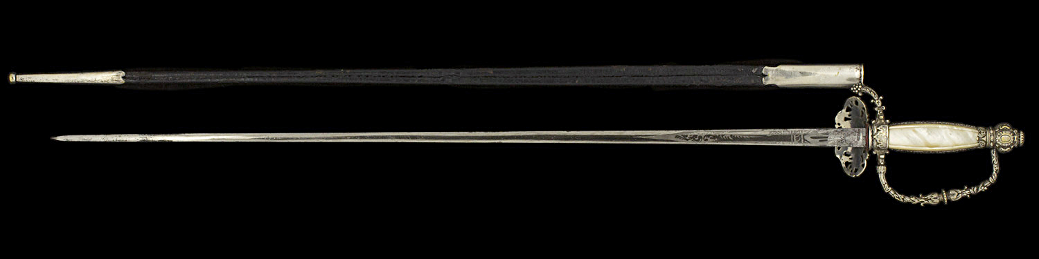 S000104_French_Third_Republic_Smallsword_Full_Reverse_Next_to_Scabbard